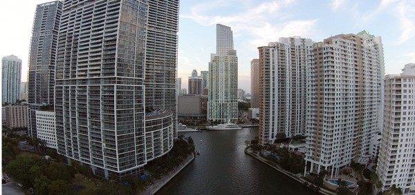 Shooting down the Miami River in Brickell.