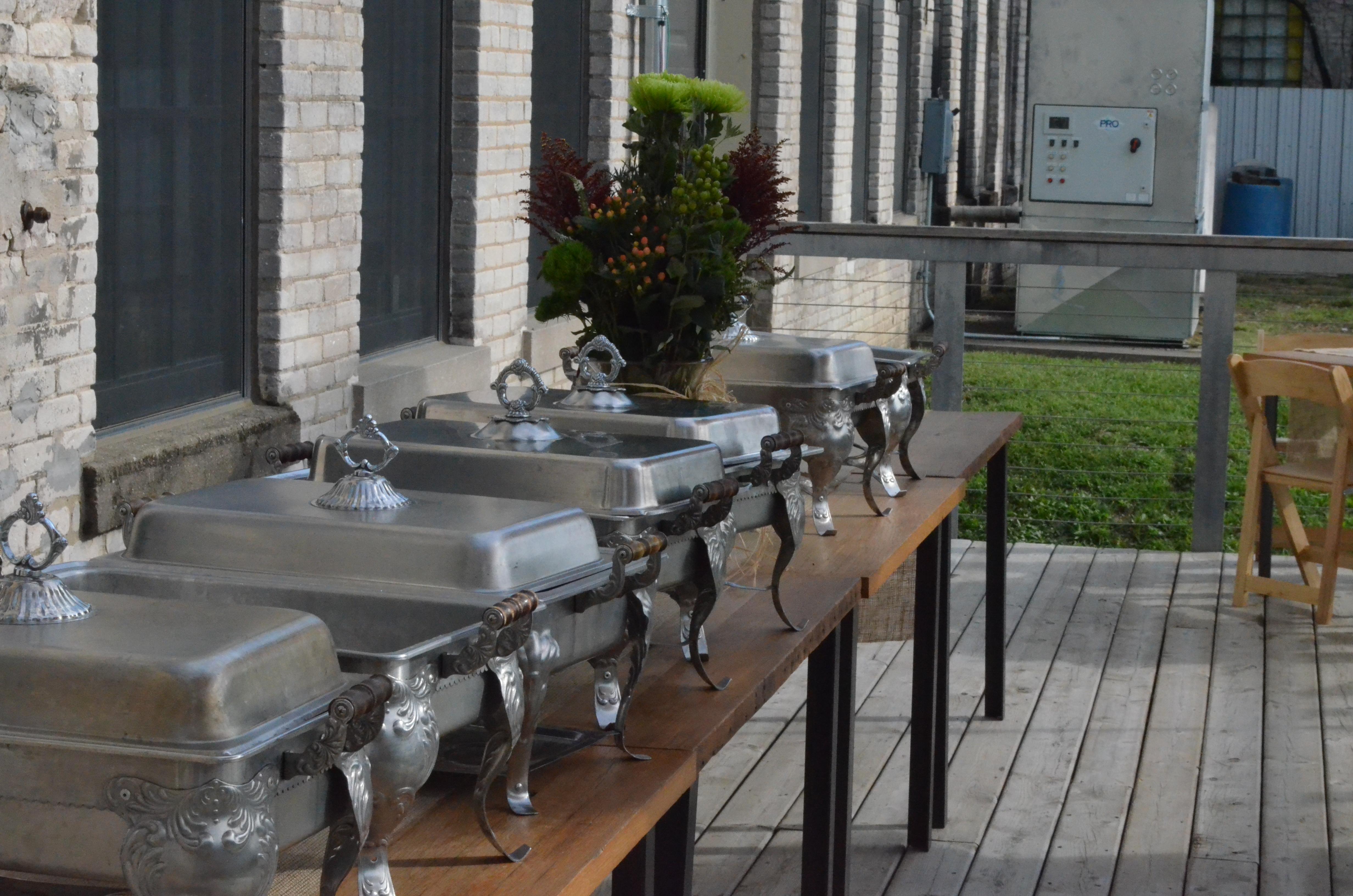 Buffet set on porch