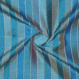 SILK DUPIONI STRIPES - OCEAN AQUA  [DMST126]