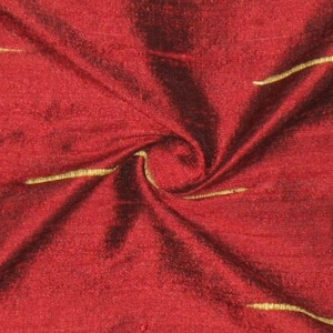 SILK DUPIONI EMBROIDERED-LIGHT - DEEP GARNET  [EMBL170]