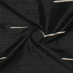 SILK DUPIONI EMBROIDERED-LIGHT - ONYX  [EMBL188]