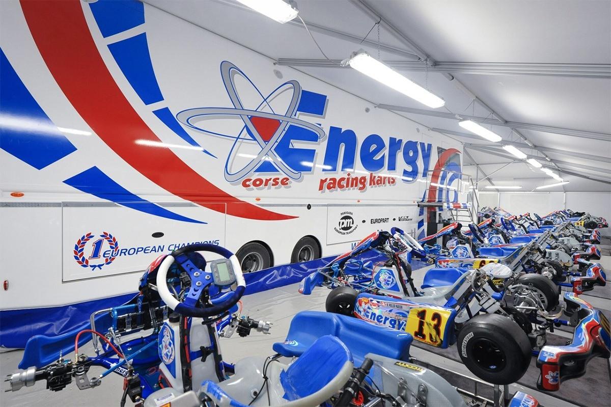 Inside the Energy Kart factory tent