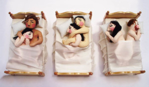 Comic Sculpture: 3 in a Bed