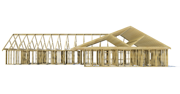 A house frame on a white background. Very high resolution 3D ren