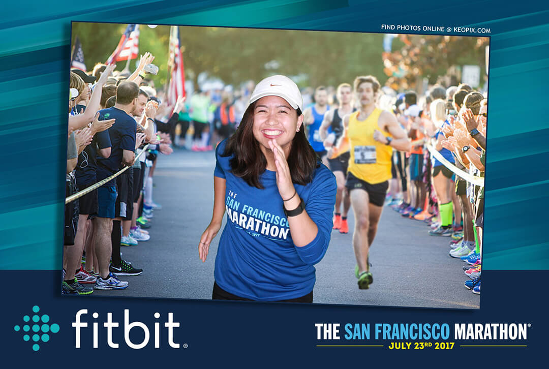 A green screen photo of a woman running the San Francisco Marathon
