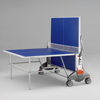 See the Champ 3.0 Indoor Table Tennis Table with a post modern silver frame and a blue top. This Indoor Table Tennis Table has a low center of gravity and 4 rugged oversized wheels.