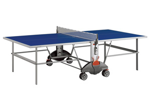 See the Champ 3.0 Indoor Table Tennis Table with a post modern silver frame and a blue top. This Indoor Table Tennis Table has a low center of gravity and 4 rugged oversized wheels.  other image
