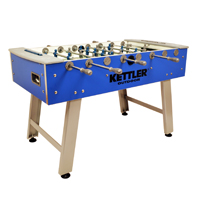 See the KETTLER Outdoor Foosball Table with leg levelers and telescopic rods. The soccer game table has unbreakable players and glass field for high speed play. other image