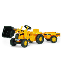 The Caterpillar Kid Tractor with Front Loader is a tough pedal tractor with a smooth finish.  It comes complete with front loader that can be raised and lowered, scooped and tipped using the levers.  It has a rear detachable hauling trailer.