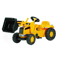 The Caterpillar Kid Tractor with Front Loader is a tough pedal tractor with a smooth finish.  It comes complete with front loader that can be raised and lowered, scooped and tipped using the levers.  It has a rear detachable hauling trailer. other image