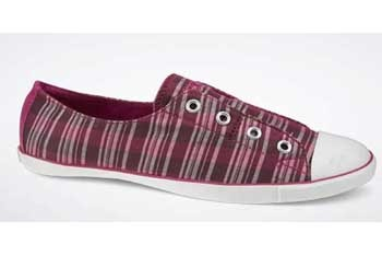 Converse All Star Shimmer plaid in cranberry, $52, Converse.com