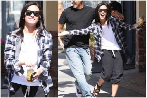Demi Lovato in a plaid jacket