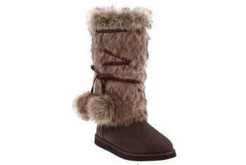 Faux fur boots with pom poms, $39.50, Oldnavy.com