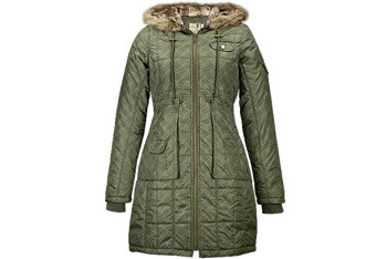 Furry hood duffle coat, $60, NewLook.com