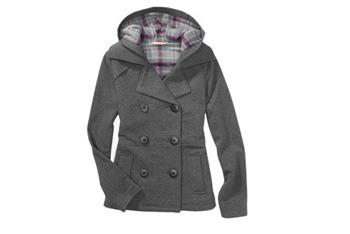 Fleece hooded peacoat, $20, WalMart.com