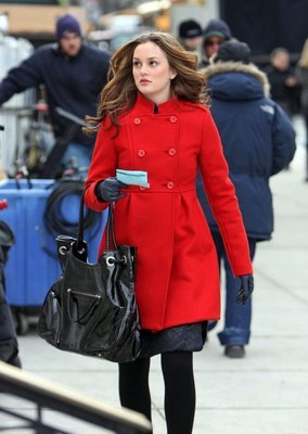 Leighton Meester steps out in a bright red coat