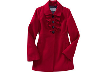 Ruffled wool blend coat, $79.50, OldNavy.com