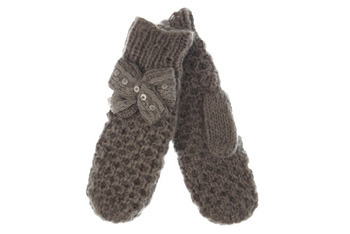 Grey knitted bow mittens, MissSelfridge.com, $14