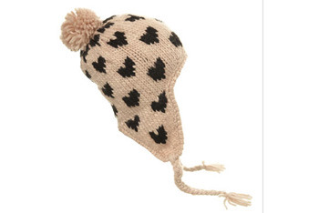 Cream heart intarsia trapper hat, MissSelfridge.com, $25