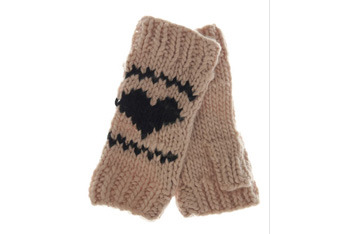 Oatmeal heart arm warmer, MissSelfridge.com, $15
