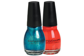 "Sinful Colors nail polish in ""Aqua"" and ""Courtney Orange"", $2.99 each, LondonDrugs.com"