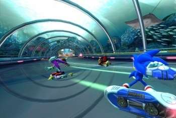Sonic Free Riders Sonic about to use weapon on opponents