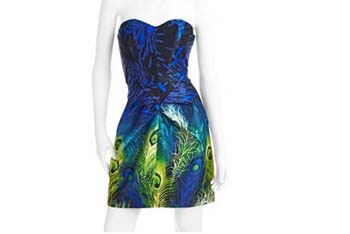 Peacock print strapless dress, $16, WalMart