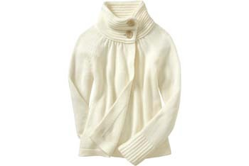 Short swing white sweater coat, $34.50, Old Navy