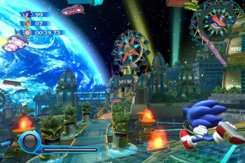 Sonic colors running through intergalactic amusement park