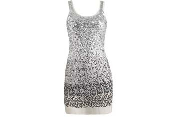 Mesh sequin silver tank dress, $69, ArdenB
