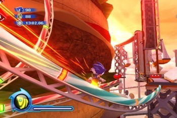Sonic Colors grinding on rail