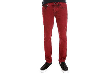 Social Collision Red Ink Dye rude fit jeans, $34, Hot Topic