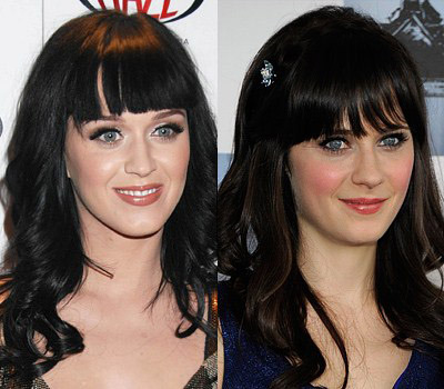 Looking lovely with blunt cut bangs Katy (L) Zooey (R)
