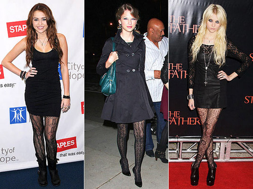 Celebs love textured tights!