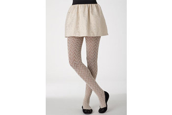 Ivory pointelle tights, $12.50, Delias.com
