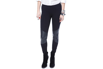 Leatherette knit leggings, $17.80, Forever21.com