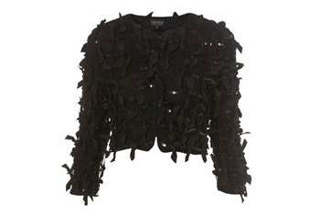Grosgrain bow and sequin crop jacket, $65, Topshop.com