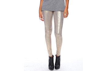 Foiled metallic leggings, $15.80, Forever21.com