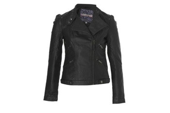 Leather look biker jacket, $30, NewLook.com