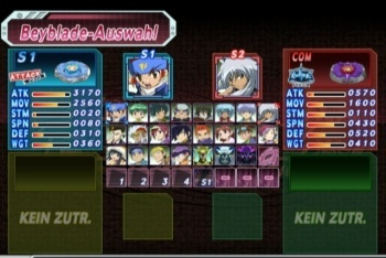 Beyblade Metal Fusion: Battle Fortress screenshot versus character selection
