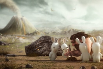 Raving Rabbids Travel in Time screenshot dead dinosaur cutscene
