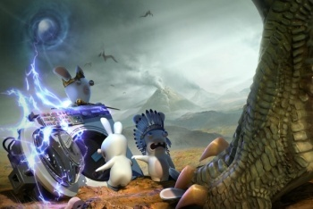 Raving Rabbids Travel in Time dinosaur attack