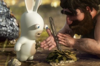 Raving Rabbids Travel in Time screenshot caveman making fire