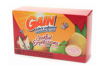GAIN Dryer Sheets in Apple Mango Tango, $6.49