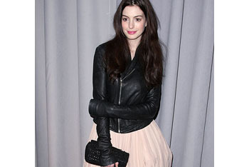 Anne Hathway in biker chic and studs