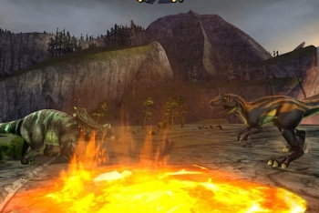 Battle of Giants: Dinosaur strike fighting game screenshot lava