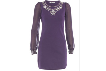 Purple embellished dress, $50, at DorothyPerkins.com