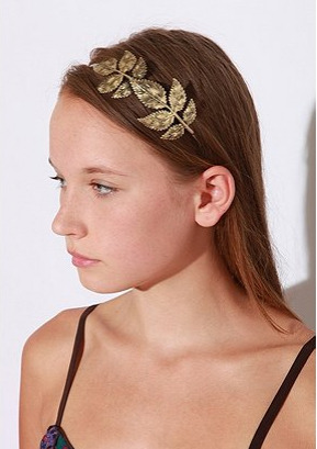 Loose gold leaf headband, $18, at UrbanOutfitters.com
