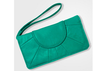 Teal sunrise clutch bag, $16, at FredFlare.com