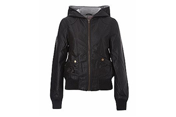 New Look leatherette hooded jacket, $40